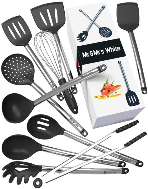 kitchen silicone cooking utensils spatula utensil tools steel stainless nonstick gift amazon