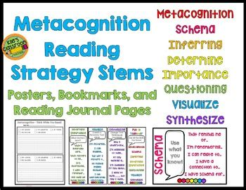 metacognition reading strategy stems bookmarks posters