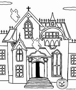 Free coloring pages of halloween haunted house