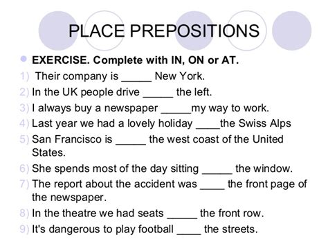 prepositions exercises for class 5 fill in the blanks