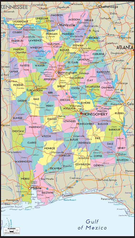 political map  alabama ezilon maps