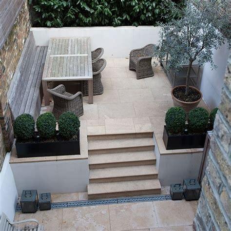 Terraced House Backyard Ideas by Limestone Terrace Garden Garden Decorating Ideas