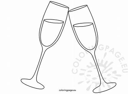 Glasses Champagne Cheers Coloring