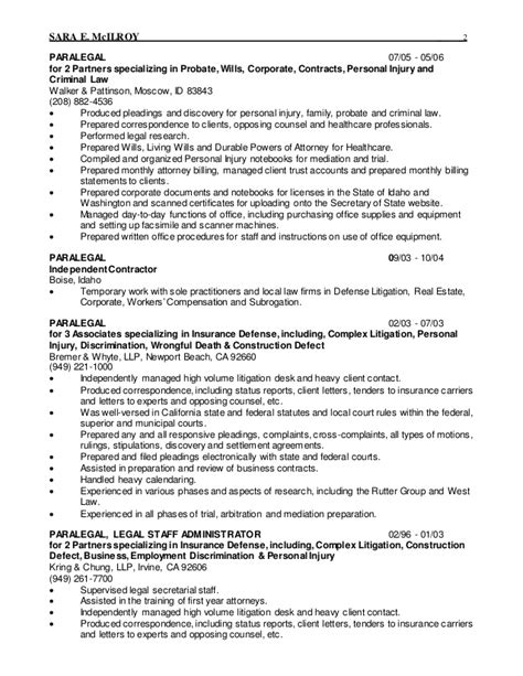 Personal Injury Assistant Resume by 2015 Resume Staff Administrator