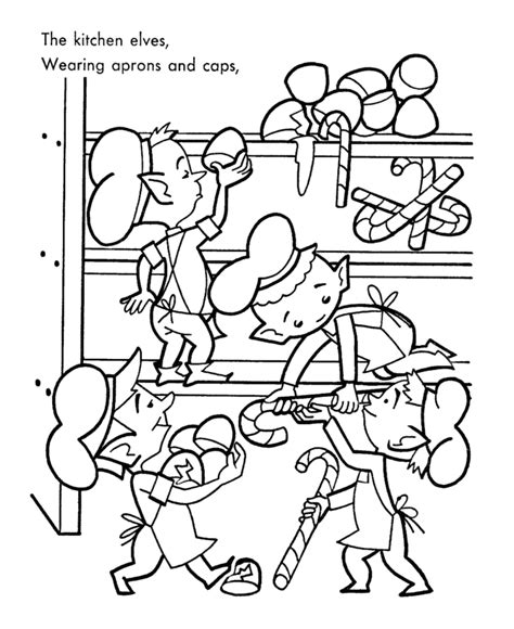 Kleurplaat Mees by Santa S Helpers Coloring Pages Kitchen Elves Made A Mess