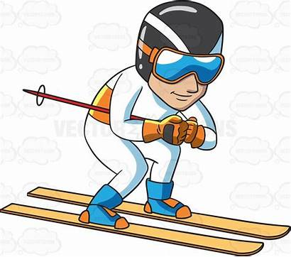Clipart Skier Down Trail Speeding Male Focuses