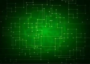 Technology background green light effect abstract dots ...