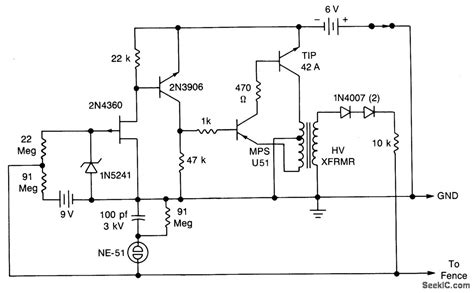 Solid State Electric Fence Charger Power Supply Circuit