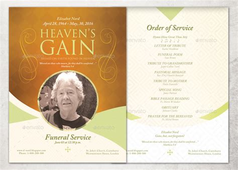 Funeral Service Sheet Template by Heaven S Gain Single Sheet Funeral Program Template