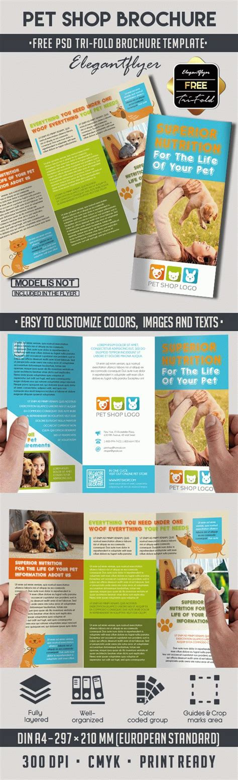 Tri Fold Brochure Template Psd Free by Pet Shop Free Psd Tri Fold Psd Brochure Template By