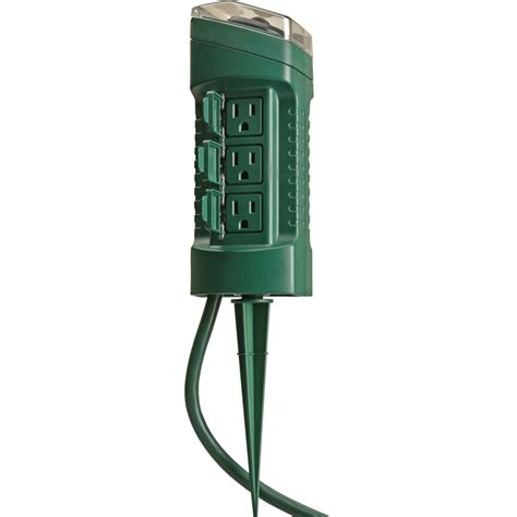 outdoor light timer switch woods 13547 6 outlet outdoor power stake w mechanical