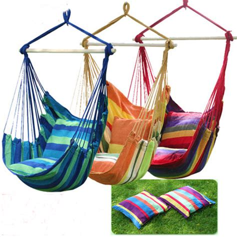 swinging hanging chair hammock thick canvas hammock outdoor cing chair dormitory 2pillows in