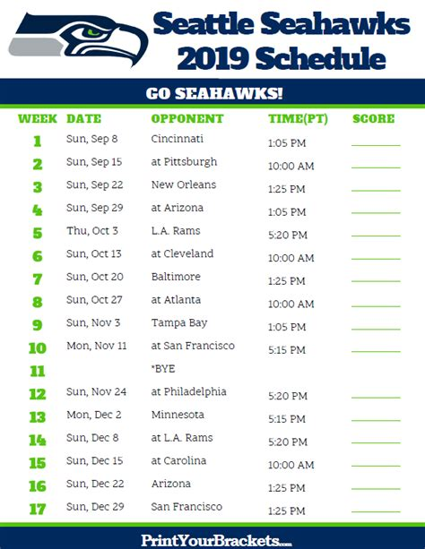 seattle seahawks  schedule pacific time printable