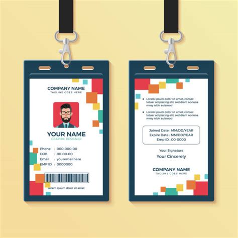 employee id card template illustrations royalty