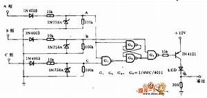 Phase Sequence Detection Circuit - Amplifier Circuit - Circuit Diagram