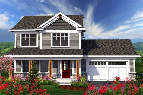Home Plans With Front Porch by 2 Story Home With Large Front Porch 89906ah