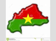 Burkina Faso Button Flag Map Shape Stock Photography