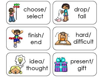 11 synonyms printable flashcards preschool 1st grade by 655 | original 2814573 1