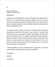 cover letter email sle cover letter exle template 29 free documents in pdf word