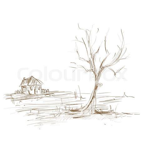 Haus Skizze Einfach by Zeichnen Skizze Landschaft Baum Und Stockfoto