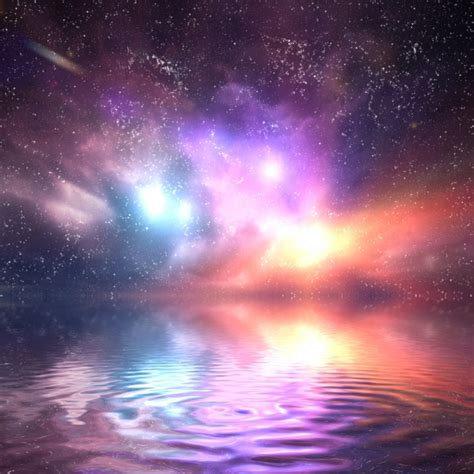 a colorful universe colorful universe reflected in water photo free