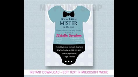 baby boy shower invitation template youtube