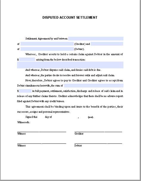 settlement agreement template disputed account settlement agreement template free fillable pdf forms