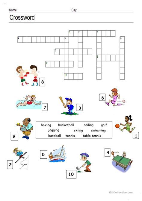 sports crossword worksheet  esl printable