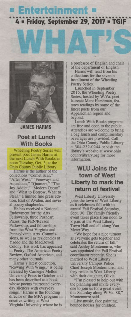 Oct. 3 Wheeling Poetry Series Presenting James Harms in ...