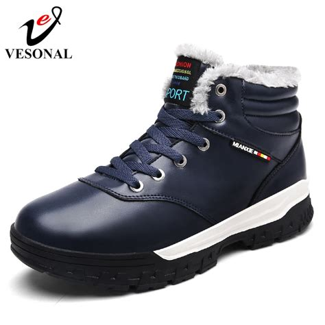 Vesonal Fashion Snow Boots Winter Fur Warm For Men