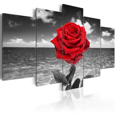 bilder mit rot leinwand bilder kunstdruck wandbild blumen schwarz wei 223 rot 020110 132 ebay