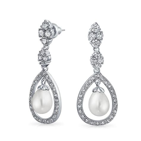 silver chandelier earrings bridal pearl pave cz silver teardrop chandelier earrings