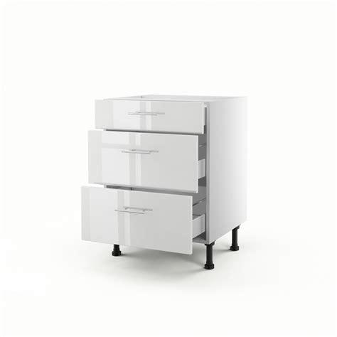 photo de meuble de cuisine meuble de cuisine bas blanc 3 tiroirs h 70 x l 60 x p