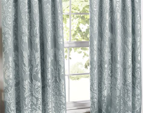 Luxury Charleston Jacquard Lined Curtains In Duck Egg Blue