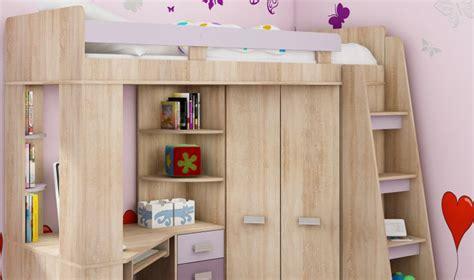 lit combin pour enfant avec bureau armoire et matelas 80 x 200 cm