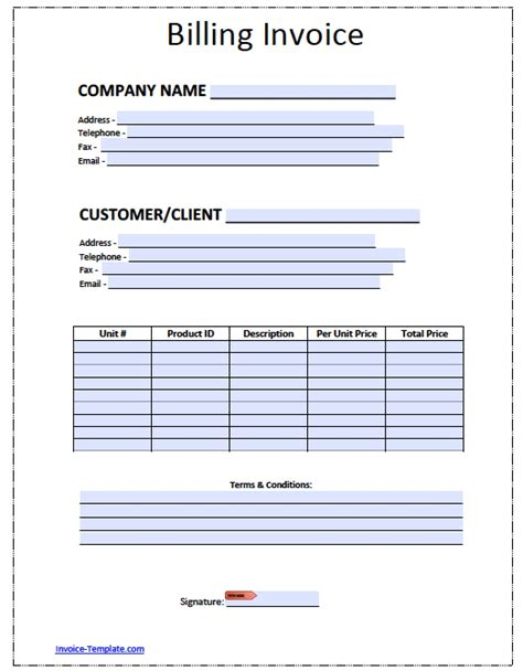 billing invoice template excel  word