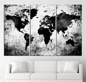 Carte Du Monde Deco Murale : salon noir et blanc 25 inspirations cool pour votre ~ Dailycaller-alerts.com Idées de Décoration