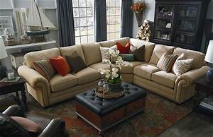 Classic light brown suede sectional sofa combined with for Large sectional sofa in small living room