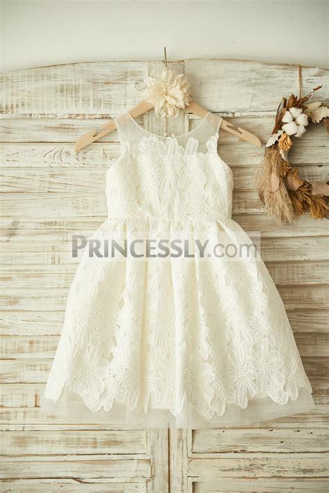 ivory sheer neck lace applique tulle wedding flower girl