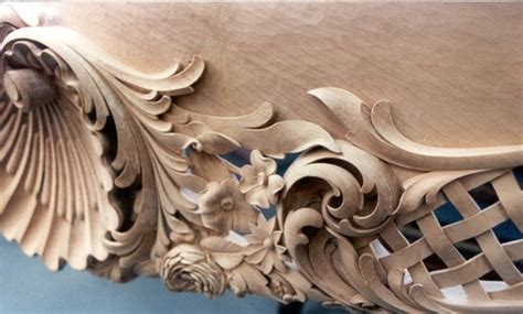 hand carved french baroque table  basswood