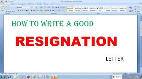 write  good resignation letter youtube