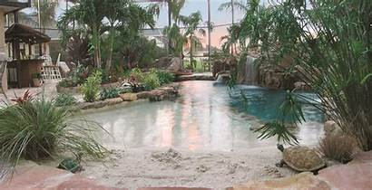 Pool Lagoon Sand Bottom Bridge Backyard Entrance