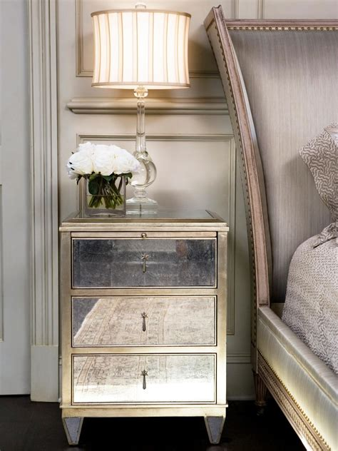 furniture mirrored nightstands  glamour style
