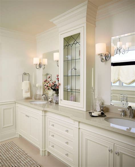 white vanity bathroom ideas splashy quoizel in bathroom traditional with white vanity next to towel ring alongside crema
