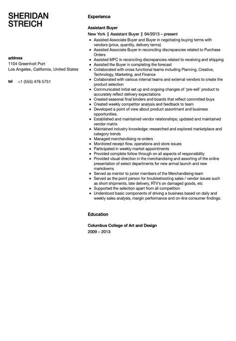 assistant buyer resume sle velvet