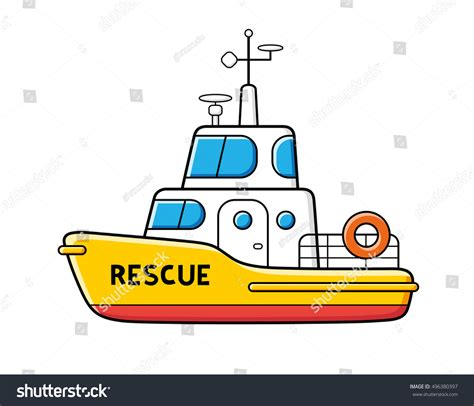 Boat Rescue Cartoon by Rescue Boat Isolated Stock Vector 496380397 Shutterstock