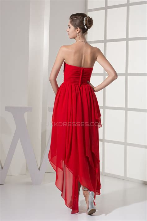 beading chiffon sweetheart short red promformal evening