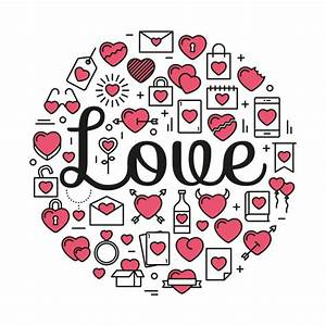 The word Love surrounded by icons and hearts Vector   Free ...
