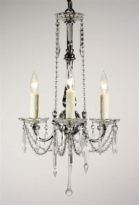 stunning antique three light chandelier with glass