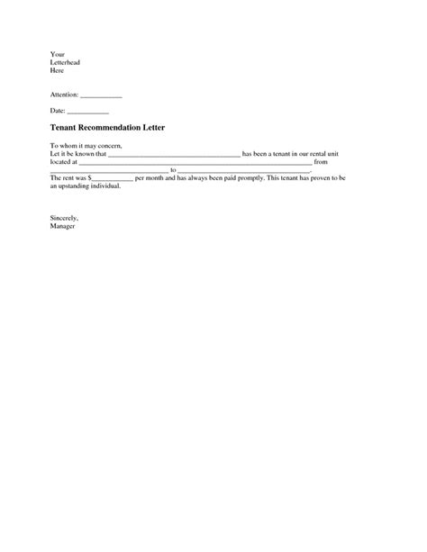 letter of recommendation for tenant tenant recommendation letter a tenant recommendation 29369